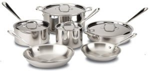 All-Clad 401488R Stainless Steel Tri-Ply Bonded Dishwasher Safe Cookware Set