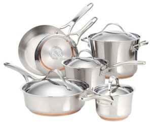 Anolon Nouvelle Copper Stainless Steel 10-Piece Cookware Set - Best Copper Cookware Set