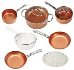 Copper Chef 9 Piece Round Set - non stick induction cookware