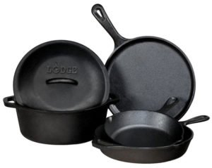 Lodge Kitchen Cookware Set 5 Piece Pre-Seasoned Cast Iron