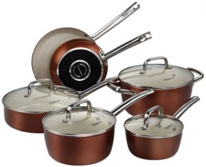 Cooksmark Ceramic Cookware Set - Copper Pots and Pans