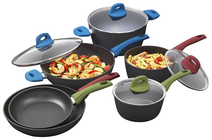 Bialetti 10 Piece Ceramic Pro Hard Anodized Nonstick Cookware Set